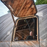 Stephen Turner in Exbury Egg, Finsley Gate, Burnley, 2016 Photo: Samantha Walsh