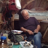 Stephen Turner at work in the Exbury Egg, Exbury, 2014