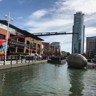 Stephen Turner's Exbury Egg being installed into Gunwharf Quays, 2017