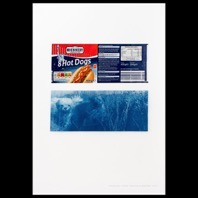 Stephen Turner, 'Hot Dogs' - Bi-narrative series 2, Inkjet print on archive paper with cyanotype print on packaging, 487mm x 330mm